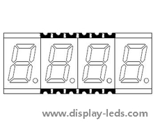 0.3 Inch Four Digit 7 Segment SMD Display