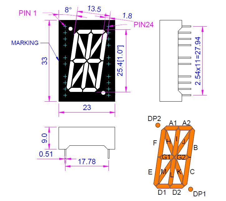 1.0 inch Amber Alpha-numeric LED Display